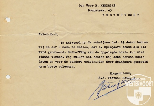 1933 - document KNVB lid Hendriks